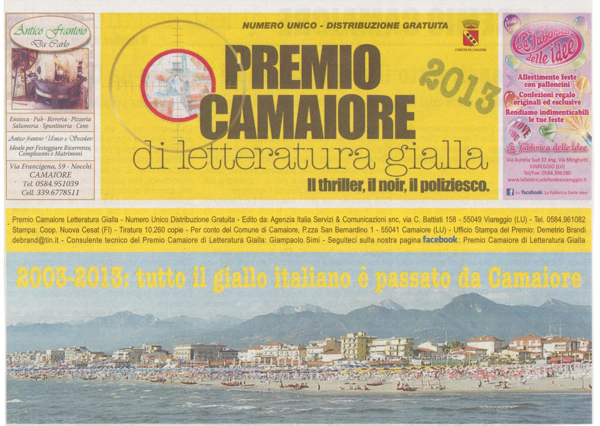 Photo of VERSILIA – Il giornale del Premio Camaiore di Letteratura gialla 2013