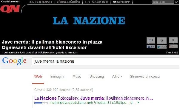 """La gaffe de """"La Nazione"""" che titola """"Juve merda"""""""