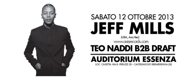 Photo of Jeff Mills a Siena sabato 12 ottobre – Auditorium Essenza