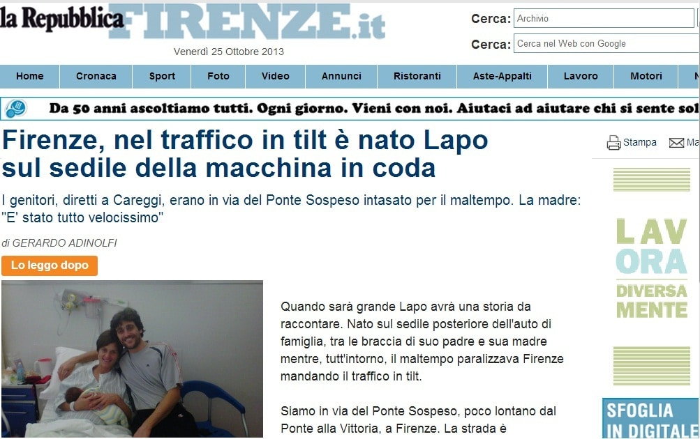 Photo of FIRENZE – C'è traffico, partorisce in auto