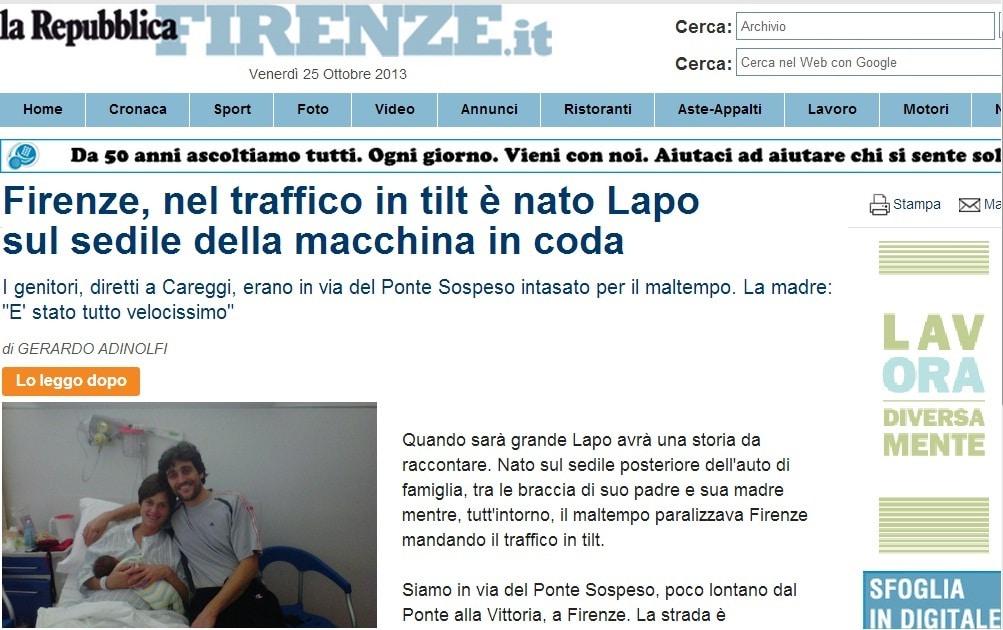 Partorisce in auto - La Repubblica
