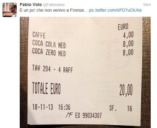 Photo of FIRENZE – Fabio Volo polemizza: caffè e 2 Coca, 20 euro
