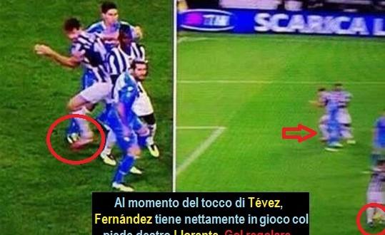 Le immagini che smentiscono: Llorente era tenuto in gioco da Fernández al momento del tocco di Tévez