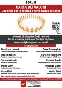 """La locandina dell'evento """"Carta dei valori. Una sfida per la politica e per il mondo cattolico"""""""