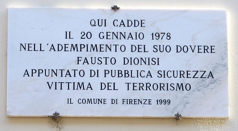 Photo of FIRENZE – 36 anni fa Prima Linea uccideva Fausto Dionisi