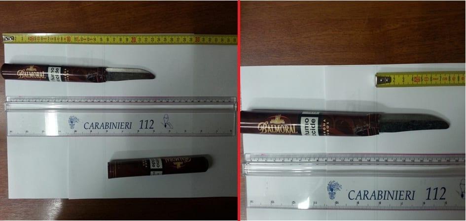 """Il coltello a uncino utilizzato dal magrebino per minacciare i dipendenti del bar """"Styl Toscana Winter Park"""" di Firenze"""