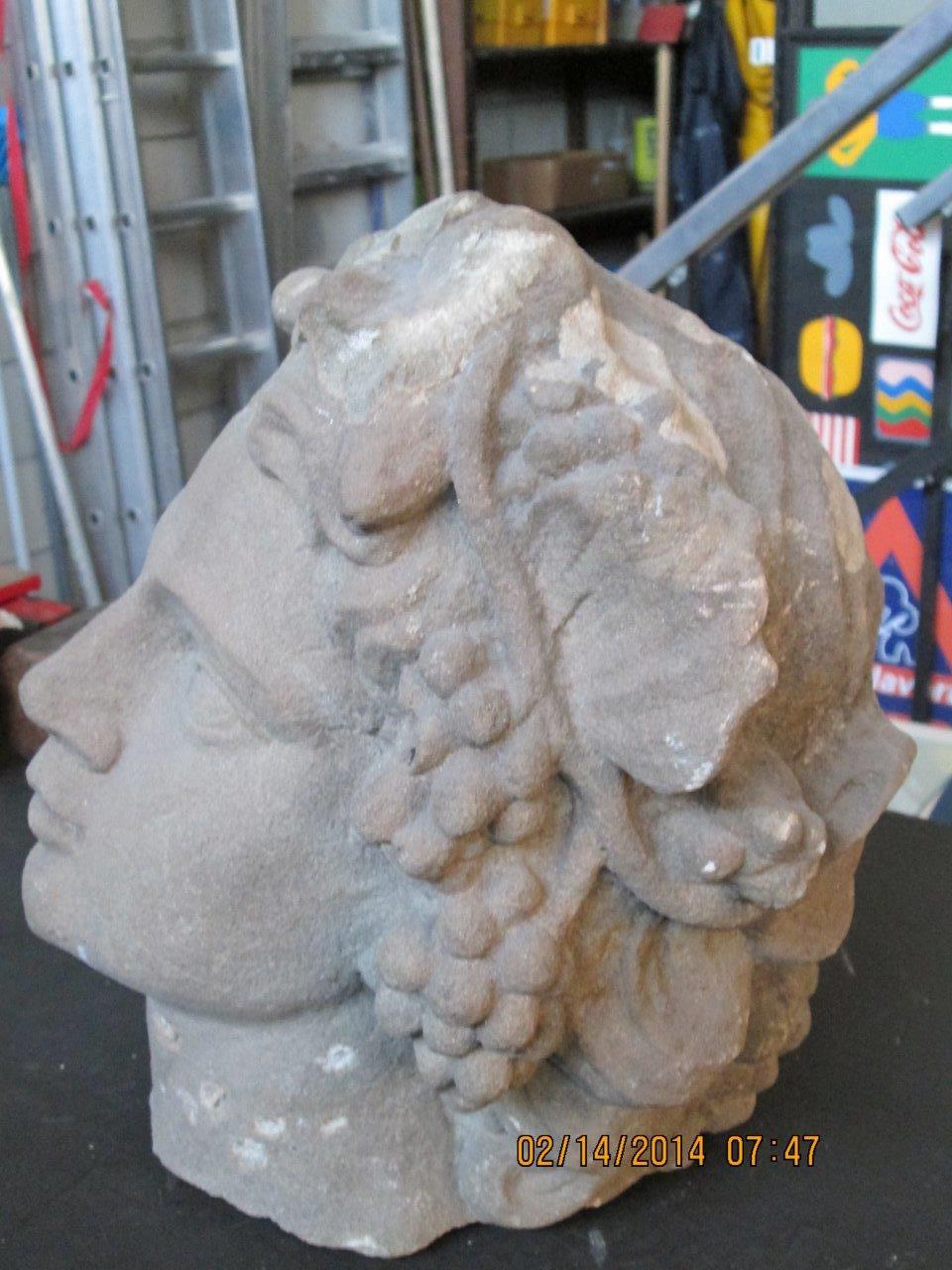 La testa ritrovata della scultura Autunno della Villa di Scornio a Pistoia