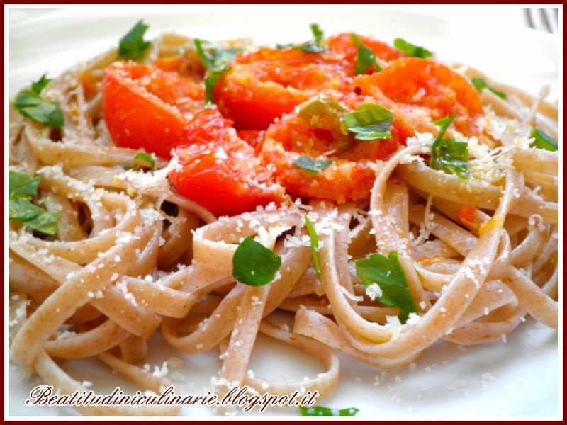 Photo of Linguine al farro con pomodorini ed erbette