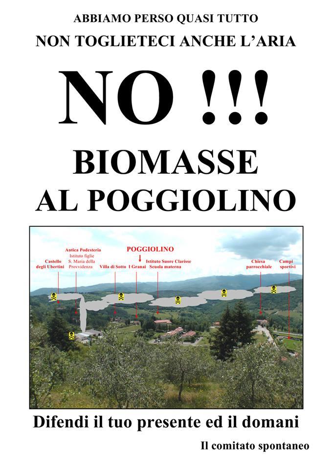 Il volantino contro la centrale a biomasse al Poggiolino (Chitignano - Arezzo)