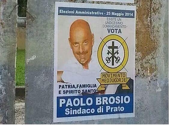 Il manifesto che chiede di votare per Paolo Brosio
