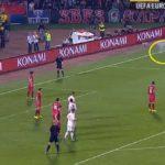 "Serbia-Albania, 35'11"", fumogeni e petardo lanciati contro Agolli"