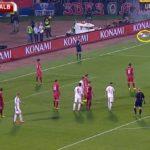 """Serbia-Albania, 35'19"""", partita momentaneamente sospesa, prosegue il lancio di petardi e oggetti"""