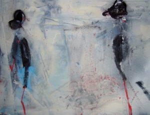 Jennifer Crisanti, Prima ballerina 33 & man, 2014, tecnica mista su carta, 24x32 cm