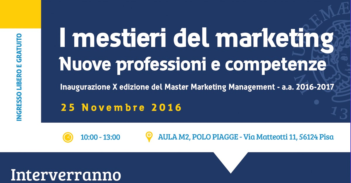 Photo of PISA – Inaugurazione X edizione del Master Marketing Management: i mestieri del marketing