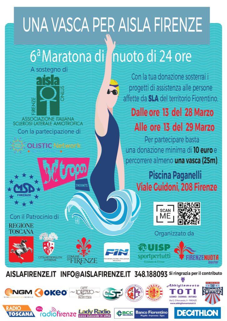 """Maratona Nuoto 6^ edizione 2020 """"Una vasca per AISLA Firenze"""""""