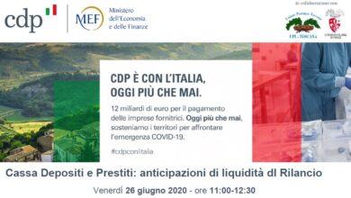 Photo of Cassa depositi e prestiti: webinar su anticipazioni di liquidità con il dl Rilancio